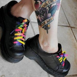 Doc Martin black maryjanes with rainbow laces